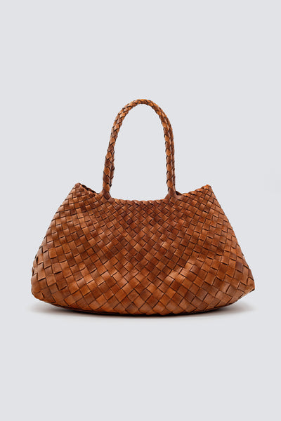 Dragon Diffusion woven leather bag Santa Croce Big Tan