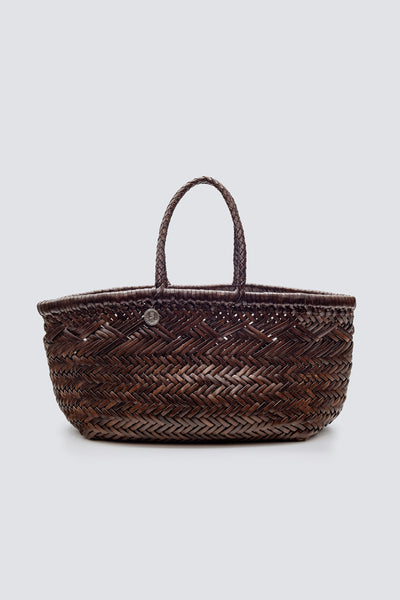 Dragon Diffusion woven leather bag Triple Jump Small 6 lines Dark Brown