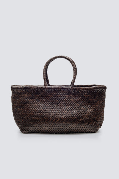 Dragon Diffusion woven leather bag Triple Jump Big Dark Brown