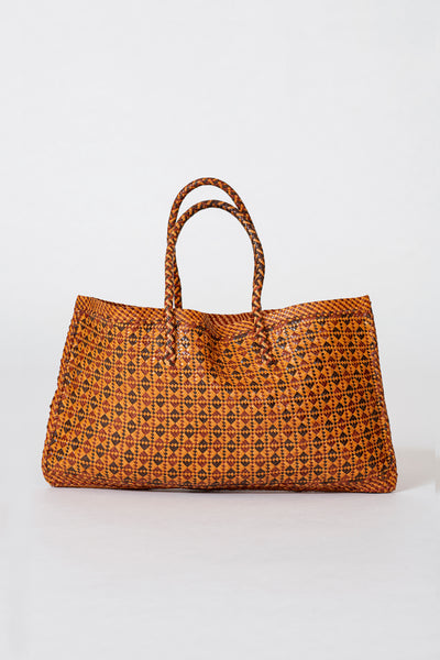 Dragon Diffusion woven leather bag Maori Kete Dark Brown
