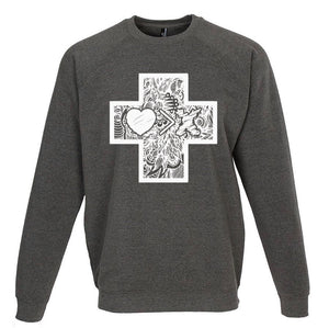 Cross by JON+DOE raglan sweatshirt (grey/white)
