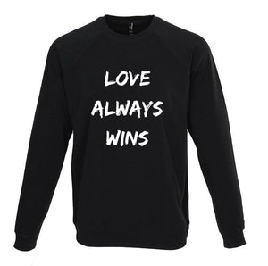 Love Always Wins raglan sweatshirt (black/white)