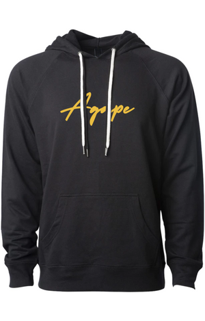 AGAPE gold script fashion hoodie (black)