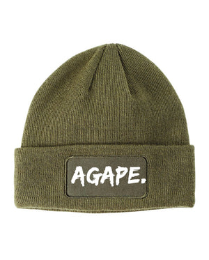 Agape patchwork beanie (olive/white)