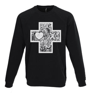 Cross by JON+DOE raglan sweatshirt (black/white)