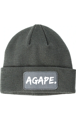Agape patchwork beanie (grey/white)