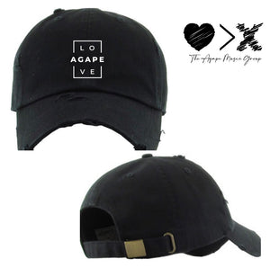 AGAPE Love Vintage Distressed Hat (black/white)