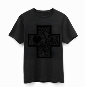 """The CROSS"" Collection by JON+DOE black on black soft t-shirt"