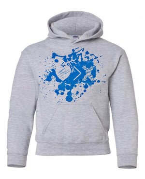 Grey/Blue Paint Splash Logo hoodie (Toddler and Youth)