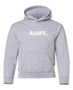 Grey/White Agape hoodie (Toddler and Youth)
