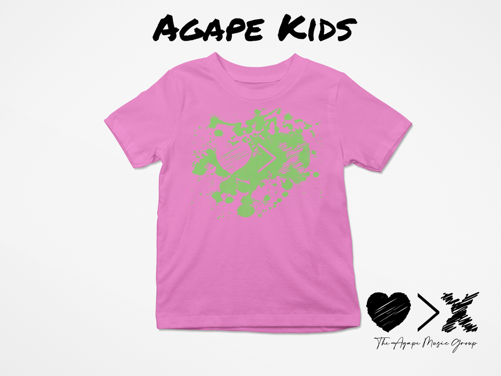 Pink/Green Paint Splash Logo T-shirt (Toddler and Youth)