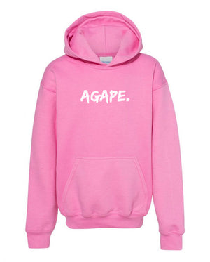 Pink/White Agape hoodie (Toddler and Youth)