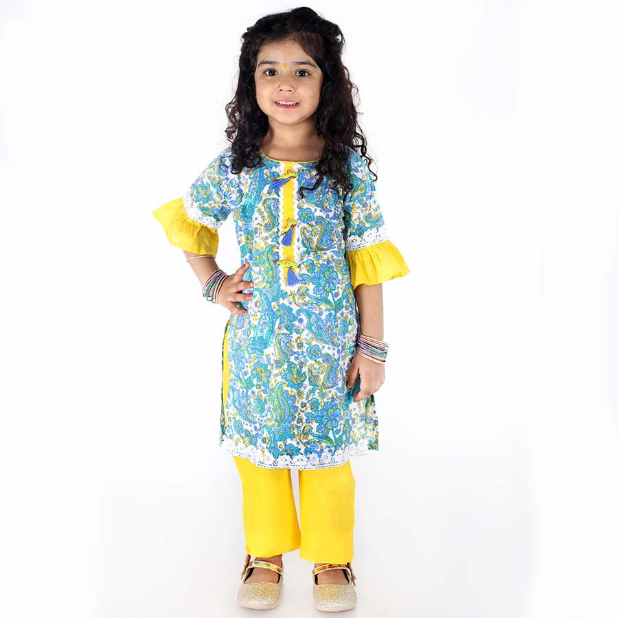 Retro Bell Sleeves Kurti Pants with Lace - Nimbu Kids