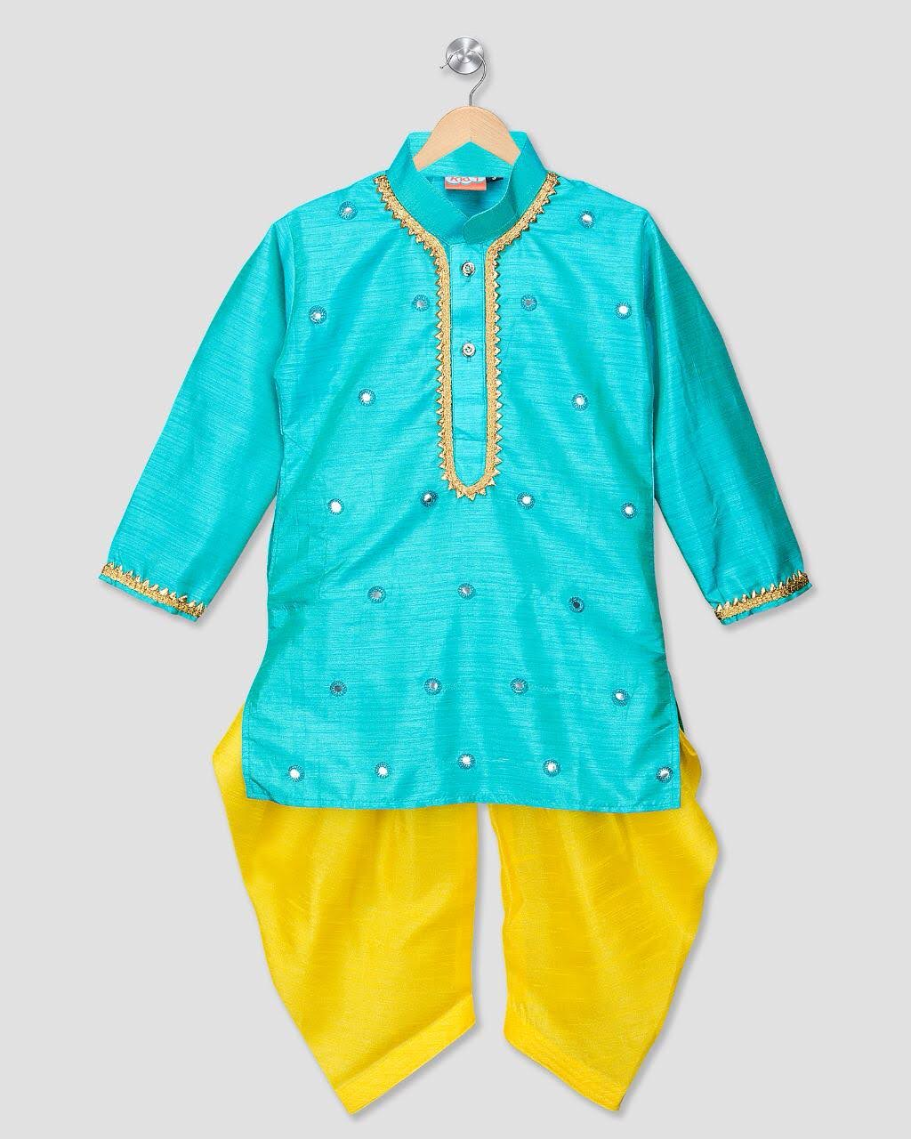 Silk Kurta and Dhoti with Mirror Work in blue and yellow - Nimbu Kids