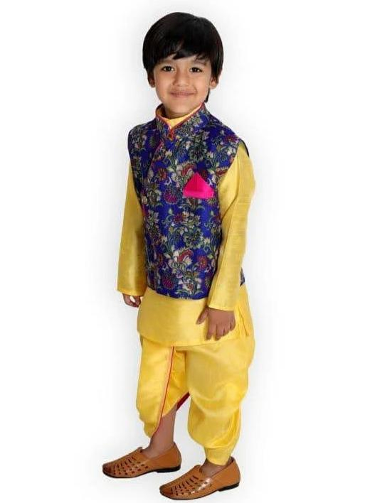 Yellow Silk Kurta Pajama 3-piece set with Blue Floral Jacket - Nimbu Kids