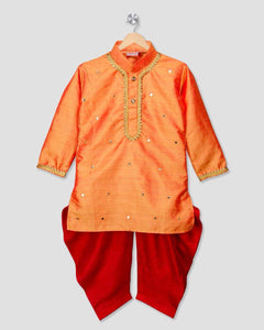 Silk Kurta and Dhoti with Mirror Work in orange and red - Nimbu Kids