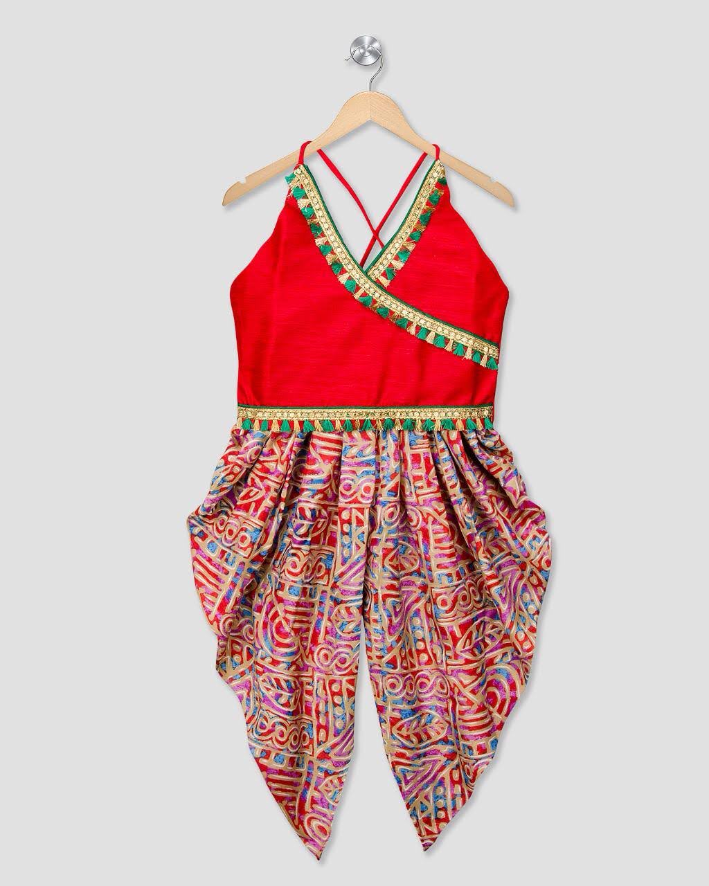 Festive Silk Angarkha Top With Aztec Print Rayon Dhoti Pants - Nimbu Kids