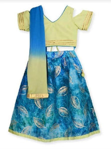 Cold-shoulder Blouse with Lehenga in Green - Nimbu Kids