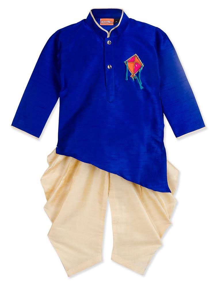 Stylish Coco Silk Navy Blue Kurta with Kite Patch - Nimbu Kids