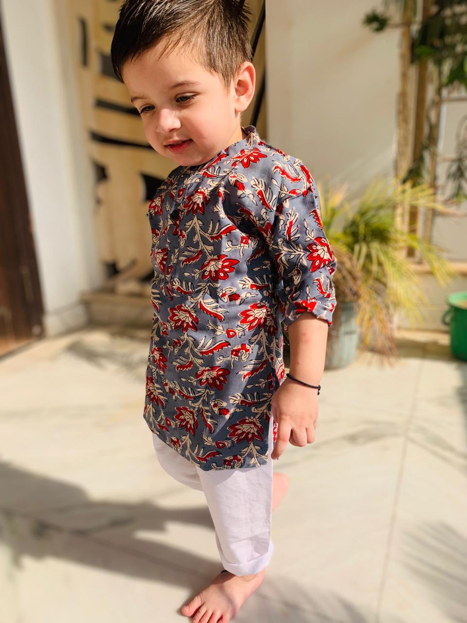 Soft Grey and Red Floral Kurta Set - Nimbu Kids