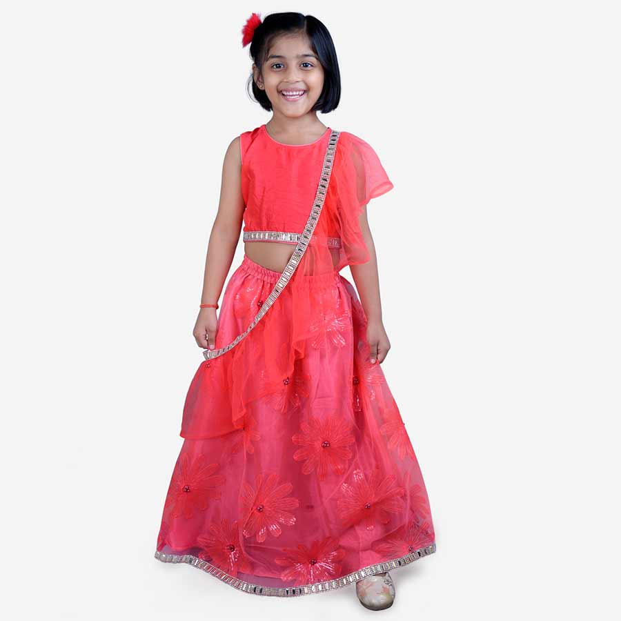 Floral Lehenga Blouse with Cross Dupatta - Nimbu Kids
