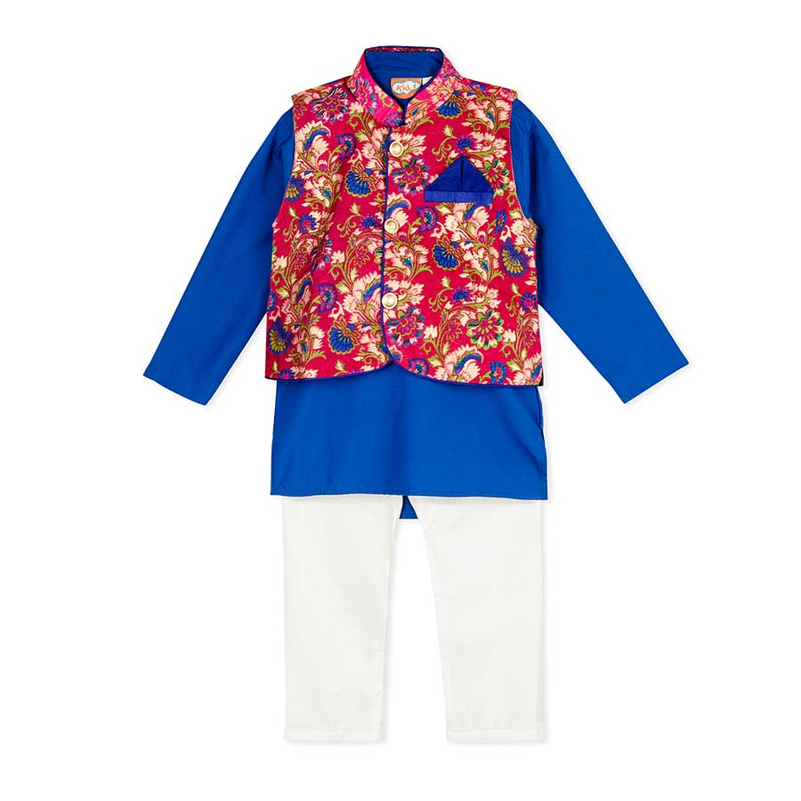 Royal Cotton Kurta Pajama 3-piece set with Pink Floral Jacket - Nimbu Kids