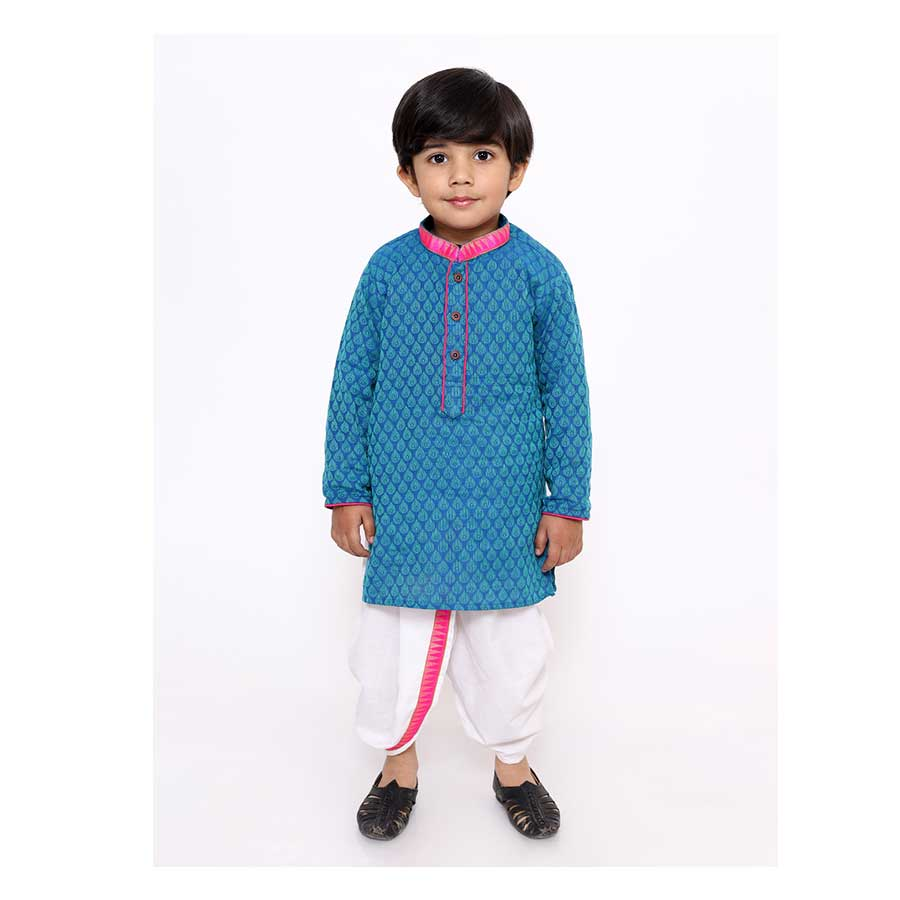 Handloom Weave Kurta Dhoti in Blue - Nimbu Kids