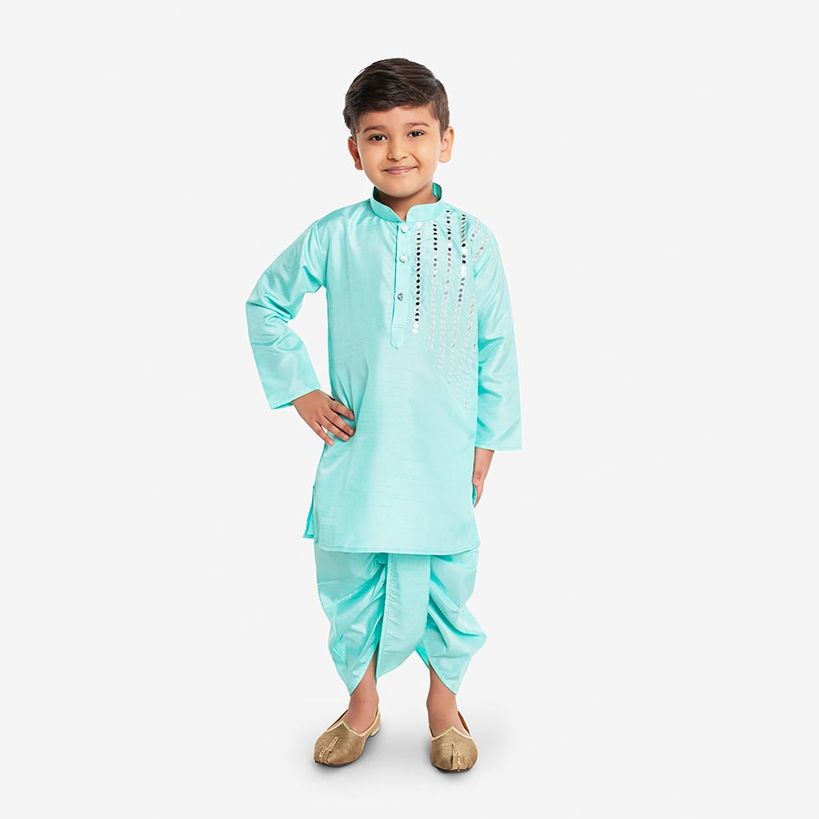 Silk Kurta and Dhoti with Mirror Work in Mint Green - Nimbu Kids