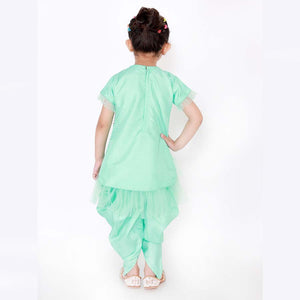 Dazzling Hi-Low Kurti with Dhoti Pants in Mint Green - Nimbu Kids