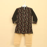 Grand Black and Golden Embroidered Cotton Kurta Pajama Set - Nimbu Kids
