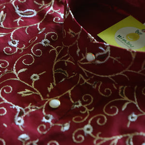 Festive Maroon and Golden Embroidered Cotton Kurta Pajama Set - Nimbu Kids