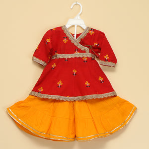 Red and Orange Peplum Sharara - Nimbu Kids
