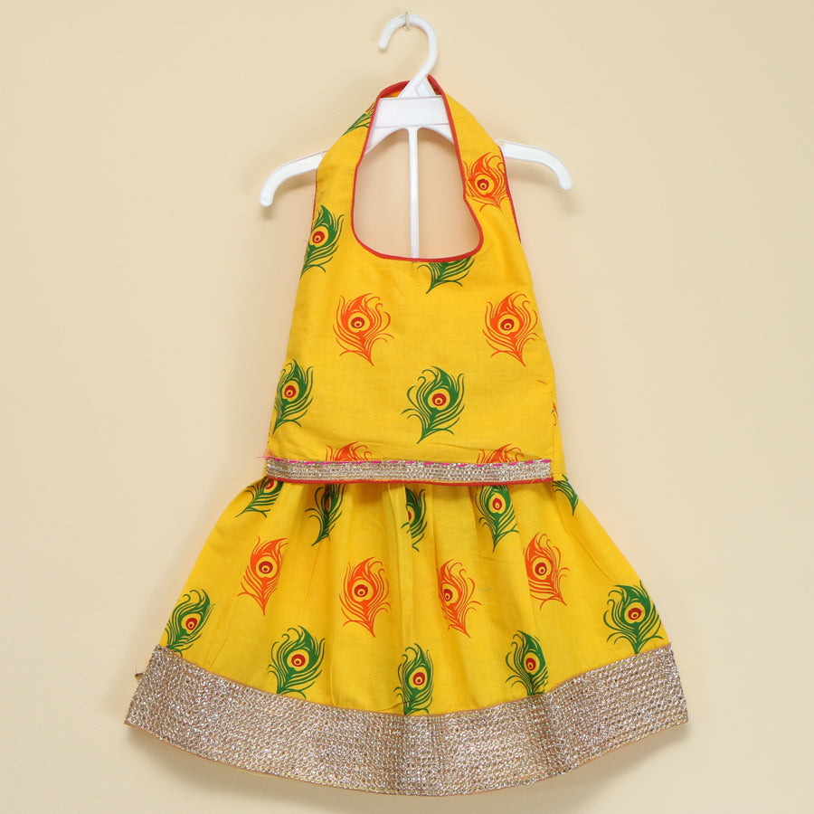 Peacock Feather Cotton Halter Lehenga in Assorted Colours - Nimbu Kids