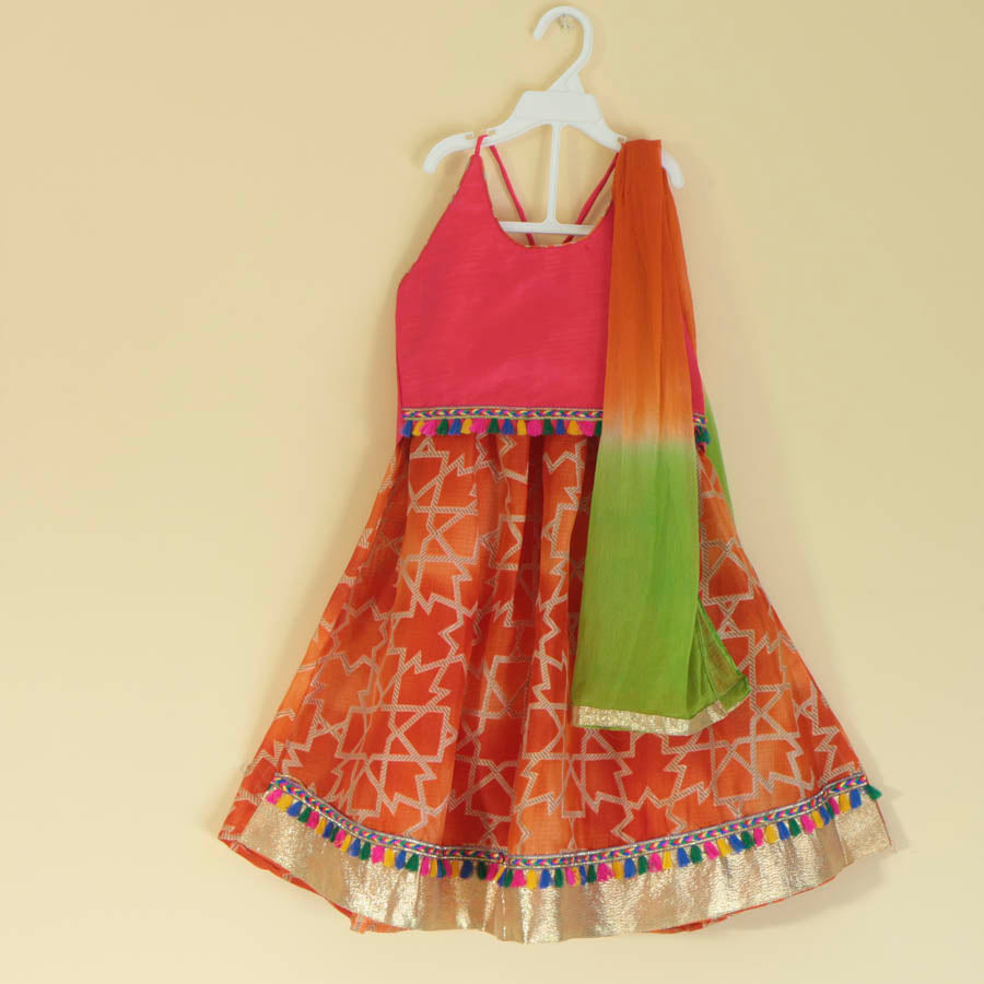 Halter Blouse with Pom-Pom Lace Lehenga - Nimbu Kids