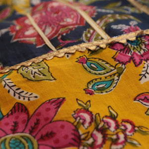 Yellow and Blue Floral Lehenga Skirt Top with Gotta Lace - Nimbu Kids