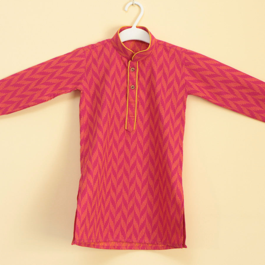 Handloom Printed Kurta Pajama in Red - Nimbu Kids