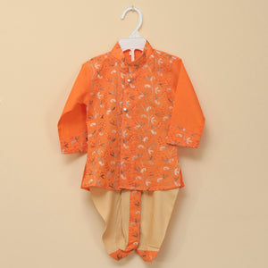 Vibrant Orange Embroidered Cotton Kurta Dhoti Set - Nimbu Kids