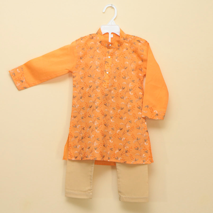 Vibrant Orange Embroidered Cotton Kurta Pajama Set - Nimbu Kids