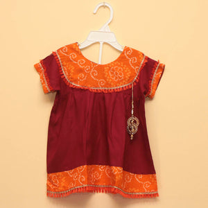 Soft Cotton Ethnic Frock in Maroon and Orange - Nimbu Kids