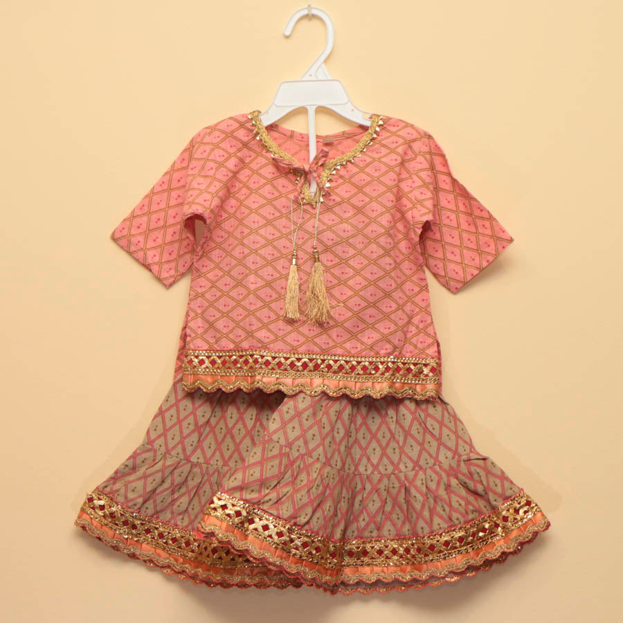Festive Pastel Peach Sharara with Gold Tassles - Nimbu Kids