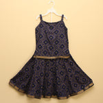 Black and Gold Bandhej Lehenga Skirt & Top - Nimbu Kids
