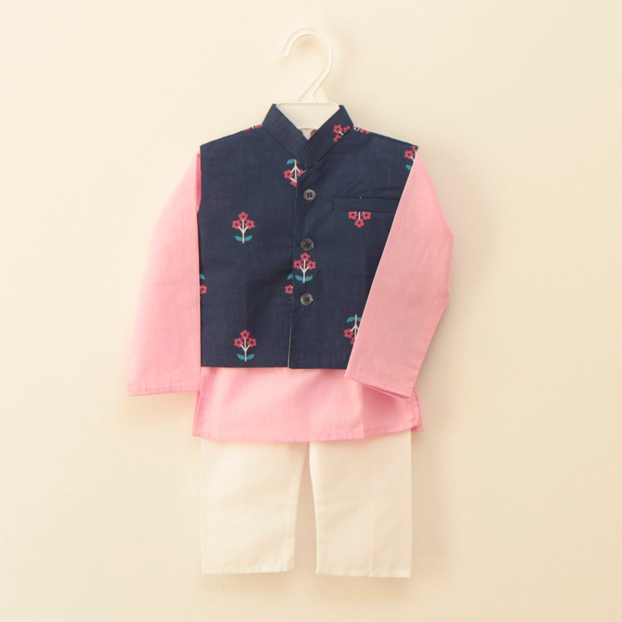 Blue and Pink Jacket Kurta Set - Nimbu Kids