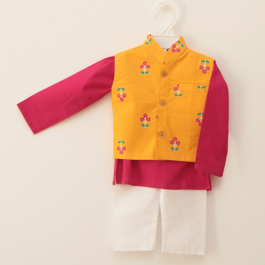 Bright Pink and Yellow Jacket Kurta Set - Nimbu Kids