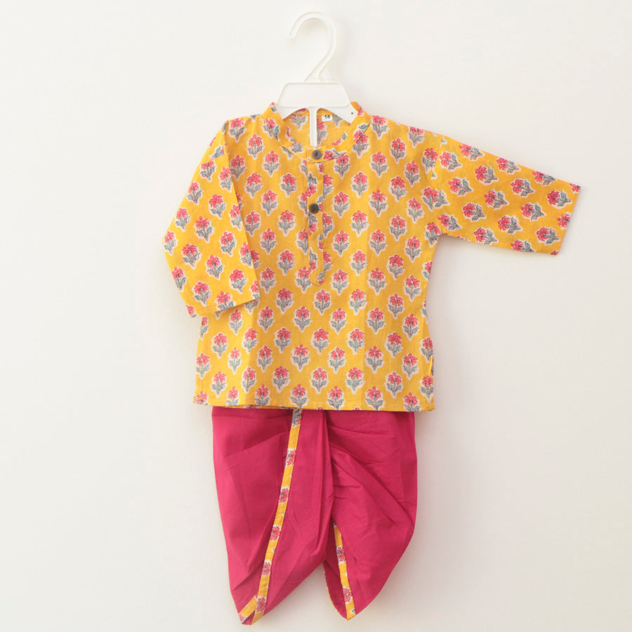 Mustard Yellow Kurta with Dhoti Pants - Nimbu Kids