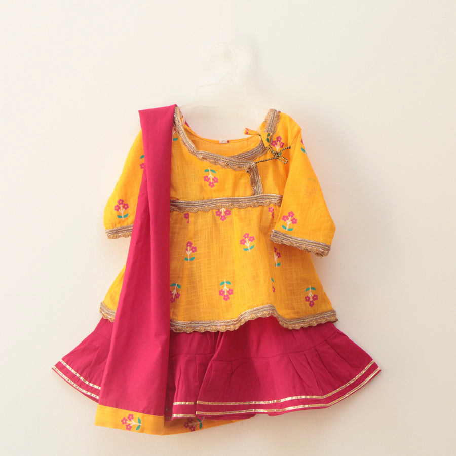 Mustard yellow and pink Peplum Sharara - Nimbu Kids