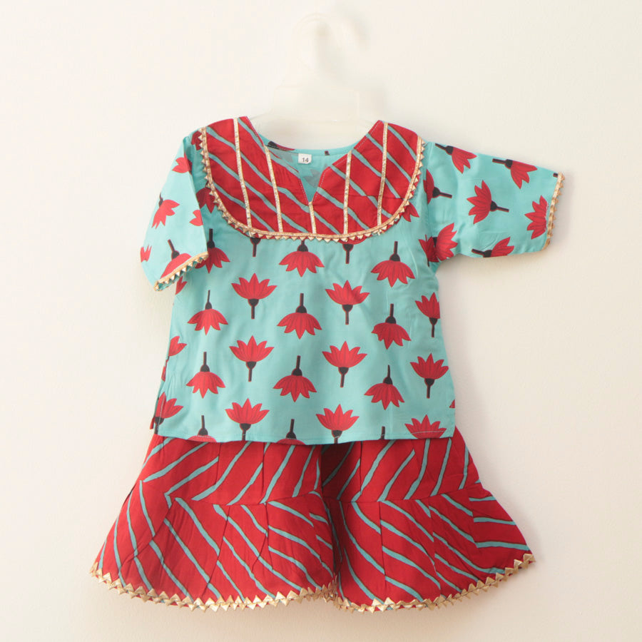 Sky Blue and Red Lotus Handblock Print Sharara - Nimbu Kids