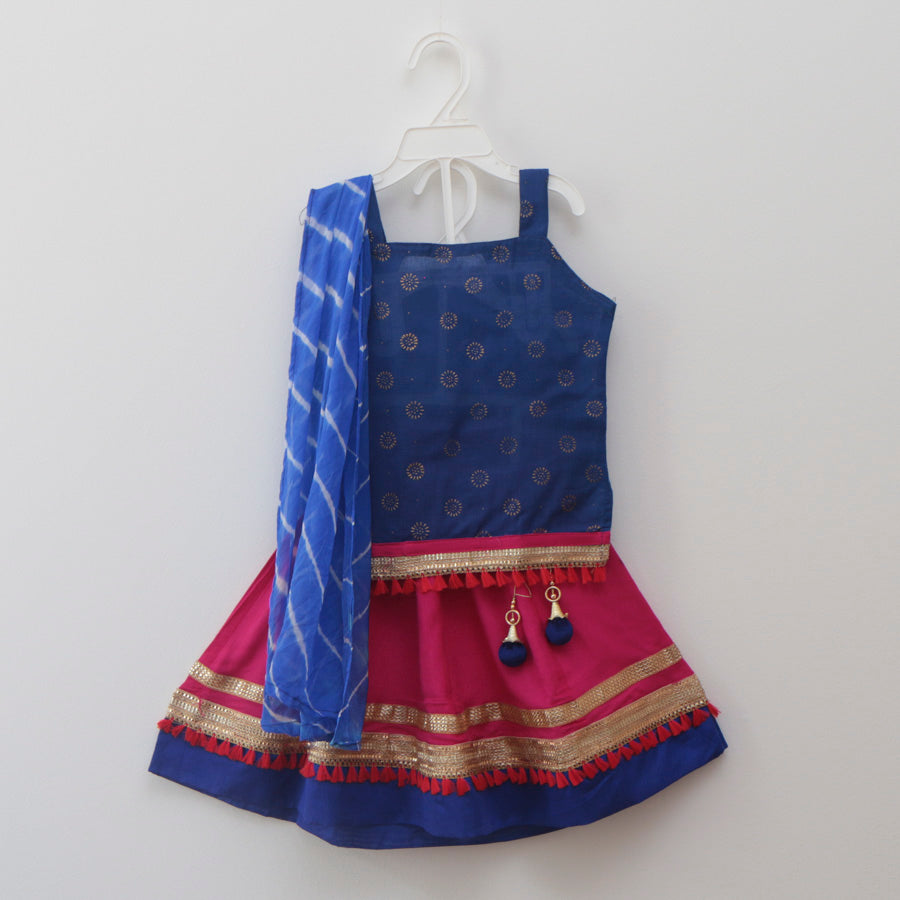 Soft Blue & Pink Lehenga Skirt Top with Pom-Pom Lace - Nimbu Kids