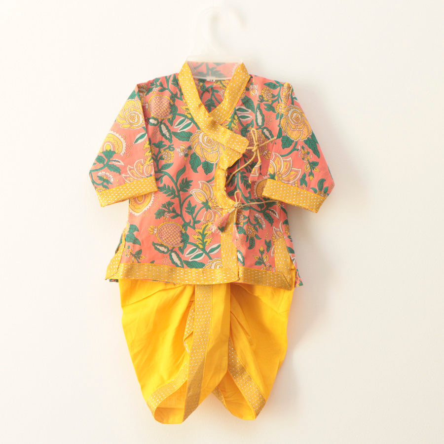 Pastel Pink and Yellow Angarkha with Dhoti Pants - Nimbu Kids