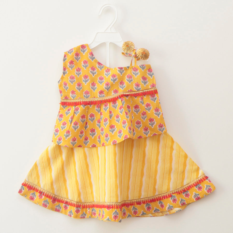 Stylish Off-Shoulder Yellow Lehenga Skirt Top - Nimbu Kids