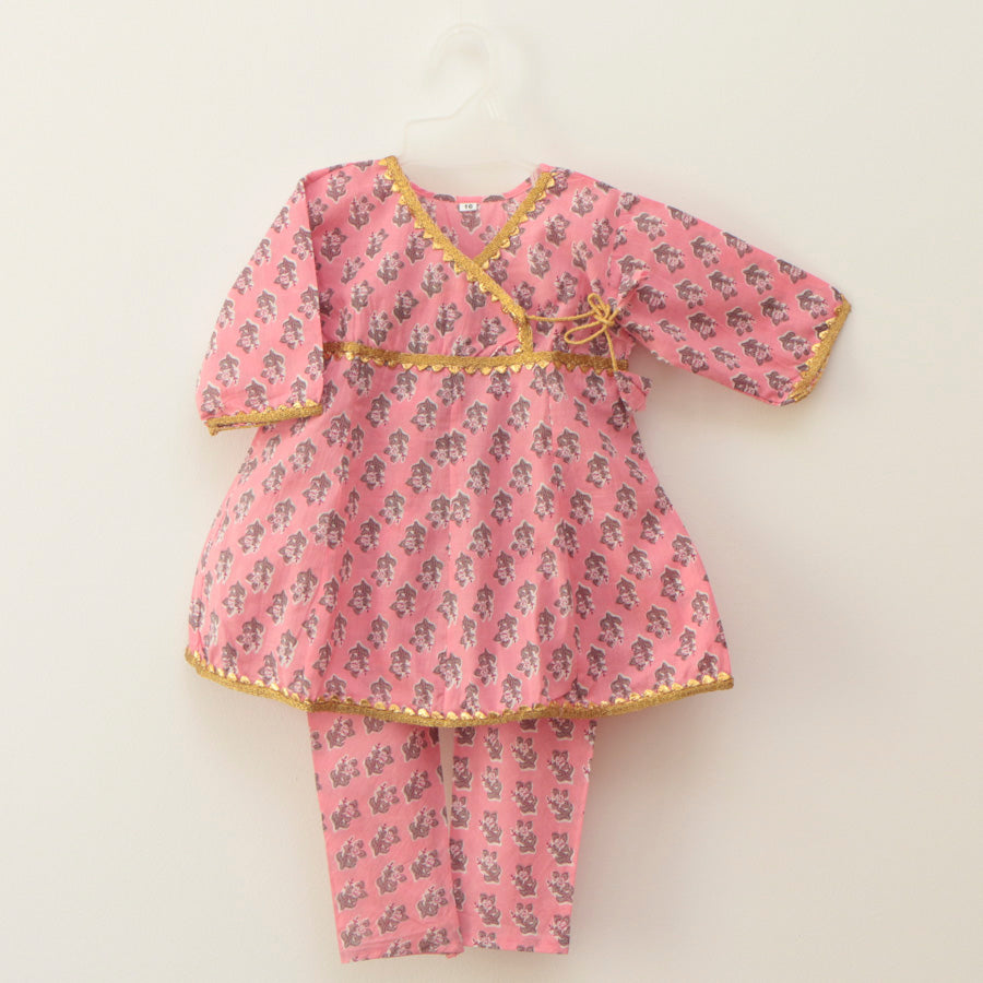 Cotton Pink Peplum Blouse and Straight Pants - Nimbu Kids